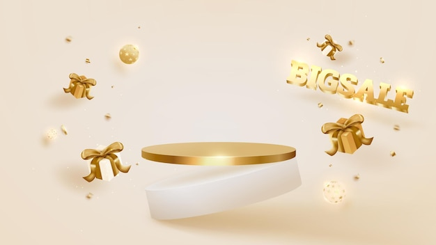 Big sale day background, podium with gift box and ball luxury, golden ribbon. 3d vector illustration.