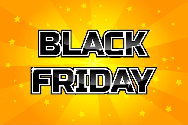 큰 판매 디자인 템플릿, 오렌지 배경에 검은 금요일 비문. 벡터 포스터
