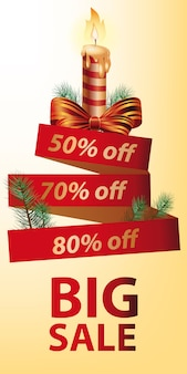 Big Sale discount banner design. Christmas candle