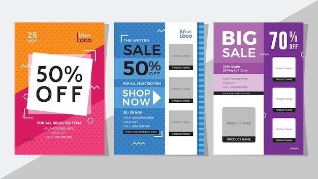 Big sale and discount flyer set