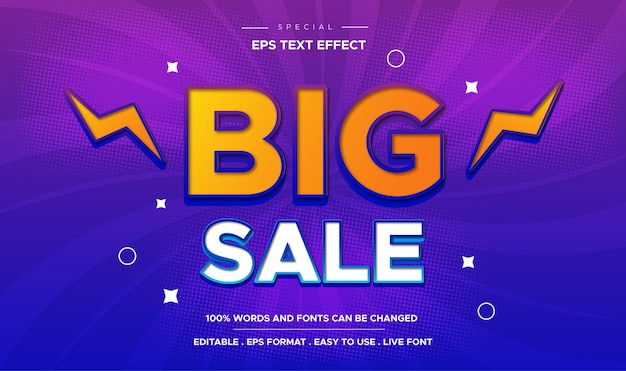 Большая распродажа с редактируемым эффектом стиля текста, тематическое продвижение продаж