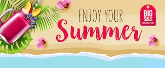 Big sale enjoy your summer banner with pink flowers, mug of berry smoothie