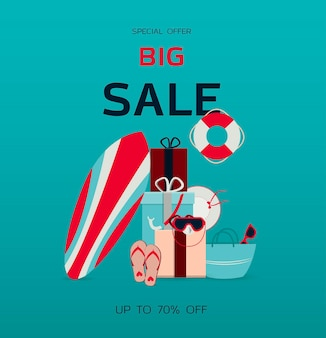 Big sale flat illustration with text a surfboard a mask for scuba diving and summer accessories