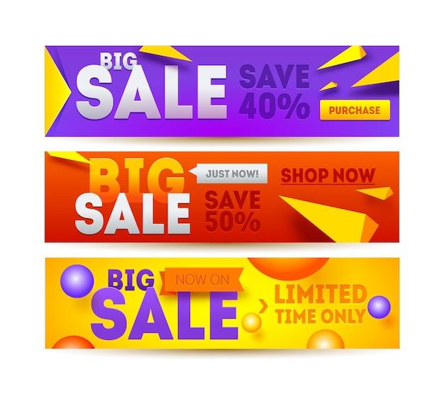 Большая распродажа для баннера сайта. дисконтный дизайн горизонтального баннера. распродажа и скидки.