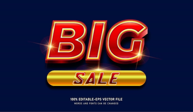 Big sale gold metal text effect template