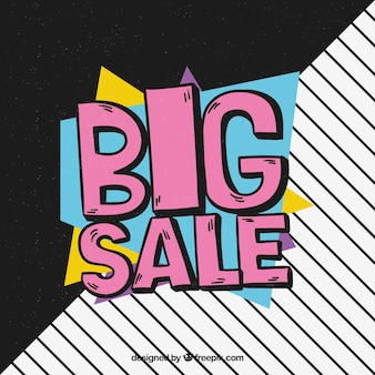 Big sale hand drawn with memphis style
