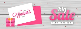 Big Sale header or banner design with illustration of gift box o
