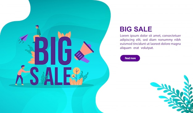 Big sale illustration concept with character. landing page template