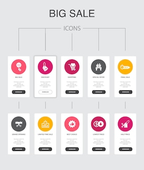 Big sale infographic 10 steps ui design.discount, shopping, special offer, best choice simple icons