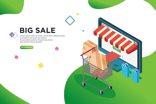 Big sale isometric design, vector