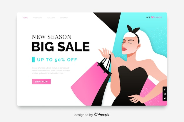 Big sale landing page with woman and bags