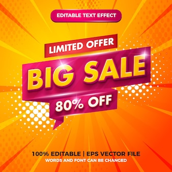 Big sale limited offer editable text effect 3d template style