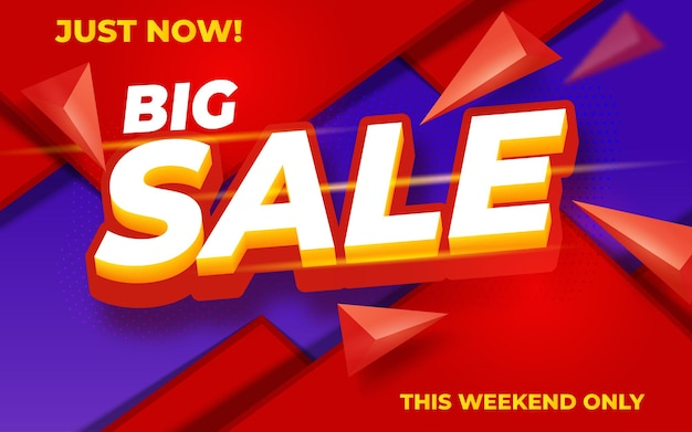 Big sale modern banner design template on red