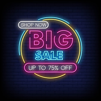 Big sale neon signs style text