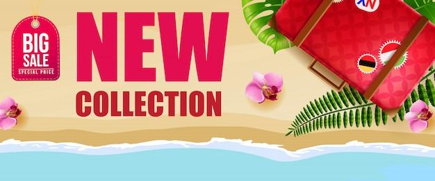 Grande vendita, nuova collezione banner design con fiori rosa, valigia rossa, spiaggia e mare.