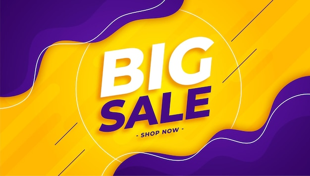 Big sale and offer template in yellow and purple color