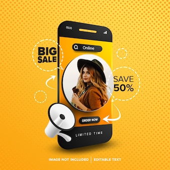 Big sale online shopping social media post with editable text