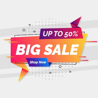 Big sale in origami style banner