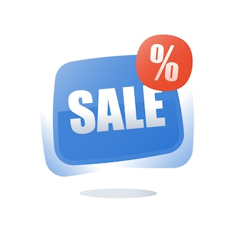 Big sale percentage sign red button illustration
