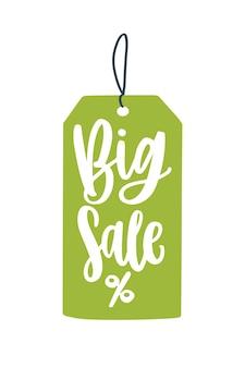 Большая распродажа ценник плоские векторные иллюстрации. креативная рекламная идея со снижением цен. элемент дизайна промо-баннера сезонные скидки. зеленый ценник со знаком процента. торговые мероприятия, распродажа объявлений.