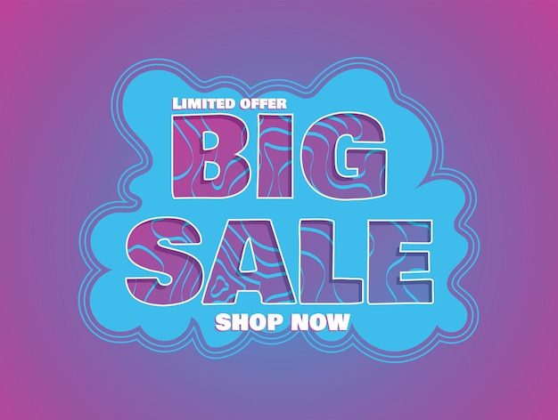 Big sale promo banner template. bright cut out design for discount promotion vector illustration