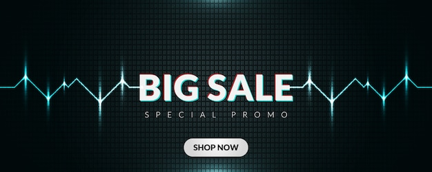 Big sale promotion banner with dark and glowing lines