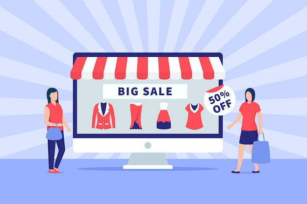Big sale promotion ecommerce banner with people and computer monitor screen