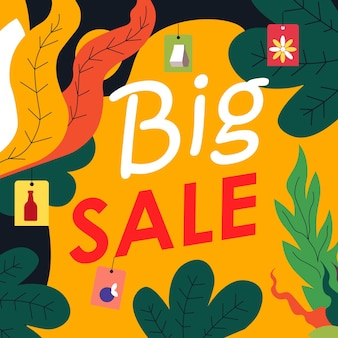 Big sale promotional banner for shop or store