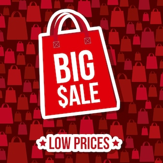 Big sale over red background vector illustration