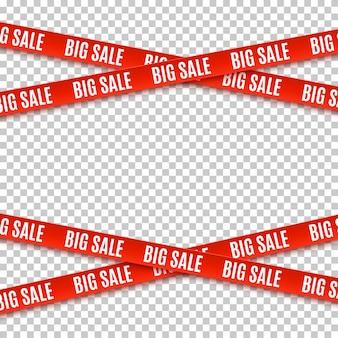 大きなセールの赤いバナー。警告テープ、透明な背景のリボンのセット。パンフレット、ポスター、チラシのテンプレート