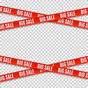 Big sale red banners. set of warning tapes, ribbons on transparent background. template for brochure, poster or flyer