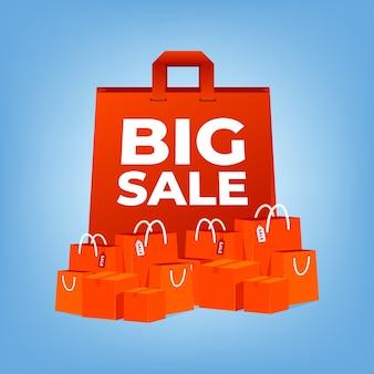 큰 판매 빨간 쇼핑백.