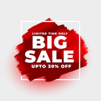 Modello rosso del fondo di stile dell'acquerello di grande vendita Vettore gratuito