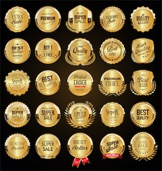Большая распродажа ретро золотых значков и этикеток