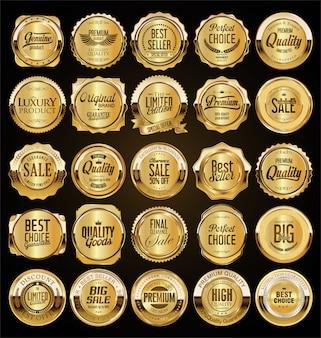 大きな販売レトロな黄金のバッジとラベルのコレクション