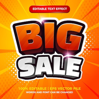 Большая распродажа 3d мультфильм комикс редактируемый текстовый эффект шаблон стиля