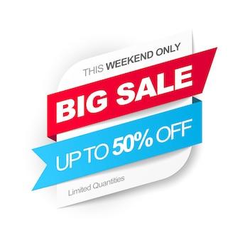 Big sale. save up to 50 off. illustration.