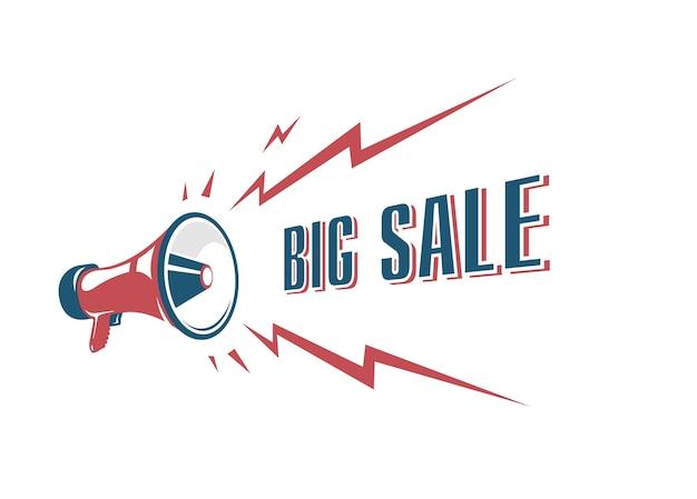 복고풍 확성기와 큰 판매 사인