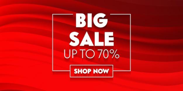 Большой рекламный плакат в социальных сетях с типографикой на красном фоне с абстрактными волнами. дизайн шаблона брендинга для скидки на покупки. оформление содержимого фона. векторные иллюстрации