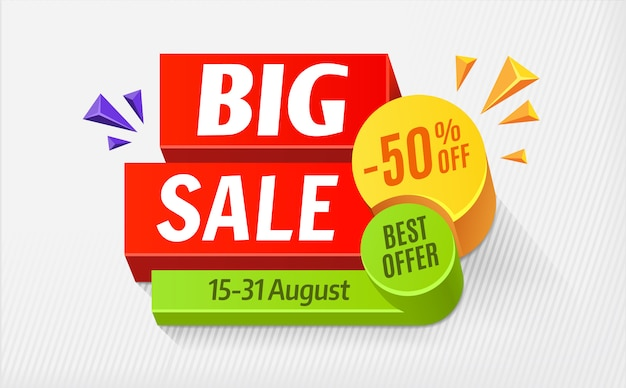 Big sale special offer, bright colourful banner. 50% off. illustration