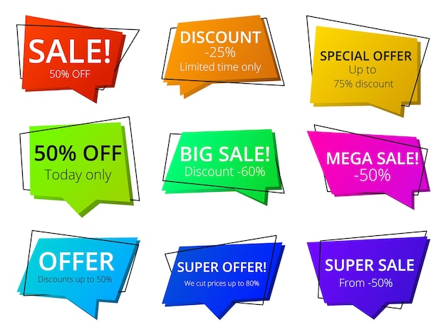 Big sale speech bubble tag set with super marketing offer. price reduction label sticker promotional information, announcement and inspiration to purchase vector illustration isolated on white