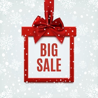 Big sale, square banner in form of gift with red ribbon and bow