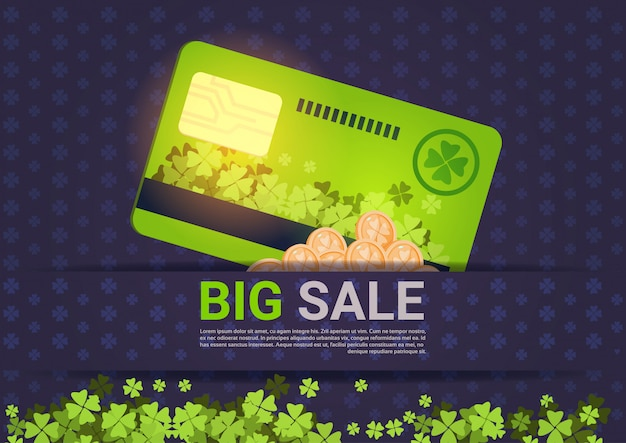 Big sale for st. patrick day holiday template credit card discounts concept