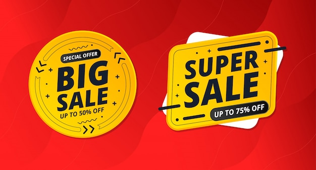 Big sale and super sale with red background.