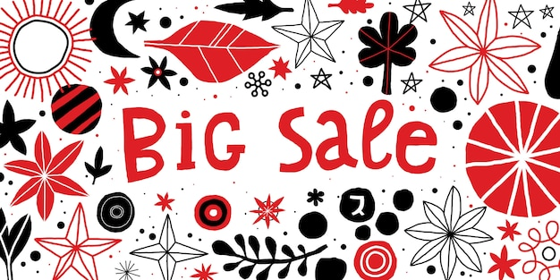 Big sale template with flowers and abstract hand drawn elements