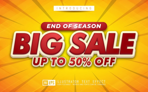 Big sale text effect editable 3d text style suitable for banner promotion
