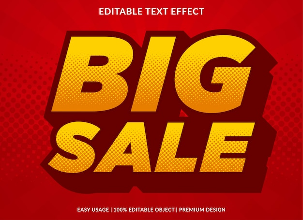 Big sale text effect template with bold and retro style