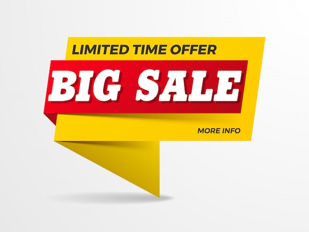 Big sale text on ribbon banner