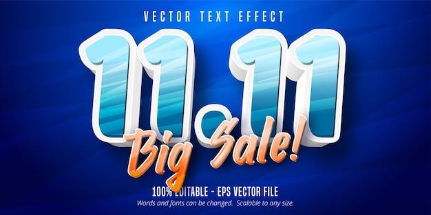 큰 판매 텍스트, 싱글 데이 만화 스타일 편집 가능한 텍스트 효과