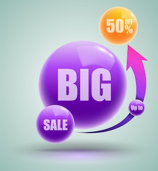 Big sale up to fifty percent banner
